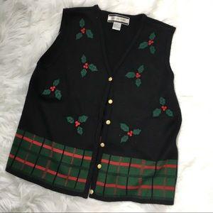 Jackets & Blazers - Christmas Sweater Vest with Holly/ Mistletoe